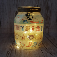 Beach Hut Seaside Upcycled Jar. Boats, Deck Chairs, Vase. with Fairy Lights