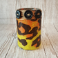 Animal Print upcycled jar Candle Holder. Recycled, Light. Vase, Brush holder
