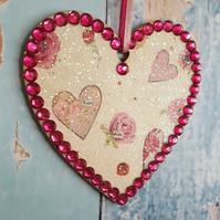 Hanging Heart decoration, country cottage chic, with hearts and roses