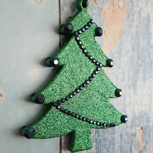 Christmas Tree decoration in Green glitter, with blue-black rhinestones