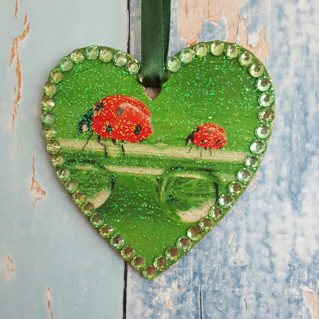 Ladybird hanging Heart decoration, country cottage chic