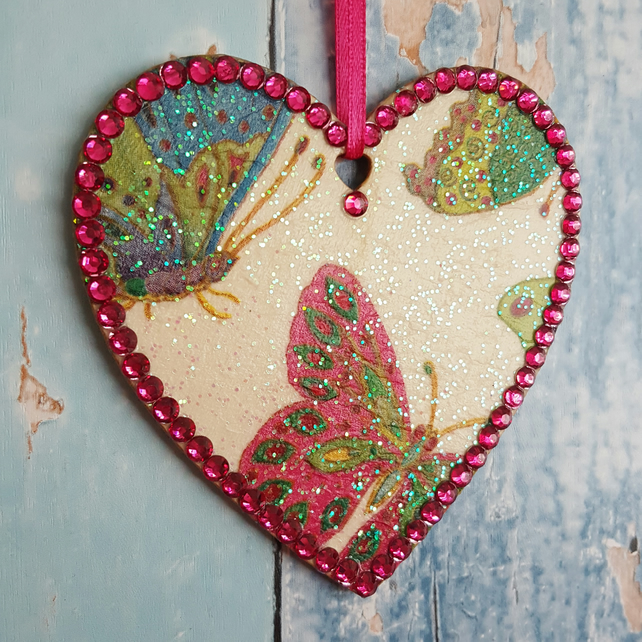 Butterfly hanging Heart decoration, country cottage chic