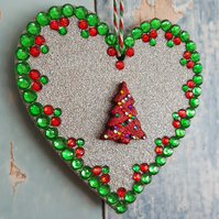 Silver Glitter Heart decoration, Red Christmas Tree, Red and green rhinestones