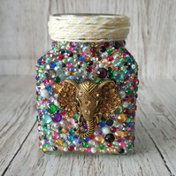 Rhinestone Jar with Elephant. Recycled, upcycled, vase, pen holder