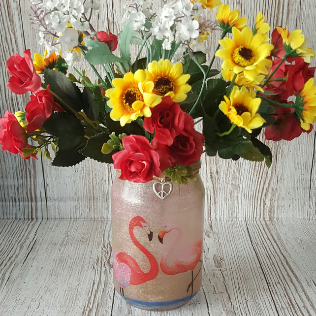 Flamingo Upcycled Jar, Vase, Candle Holder. Recycled Jar Light. Pen holder