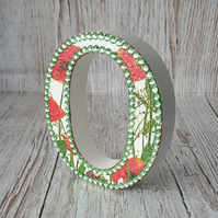 Letter O, Poppies, freestanding initials, with rhinestones