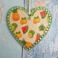 Tropical Fruit Heart, Hanging decoration, pineapple and watermelon