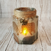 Elephant Candle Holder. Recycled Glass Jar Light. Vase, Brush holder