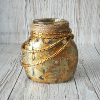 Metal Leaf Jar Lamp, with vintage chain, Upcycled, small vase, candle holder