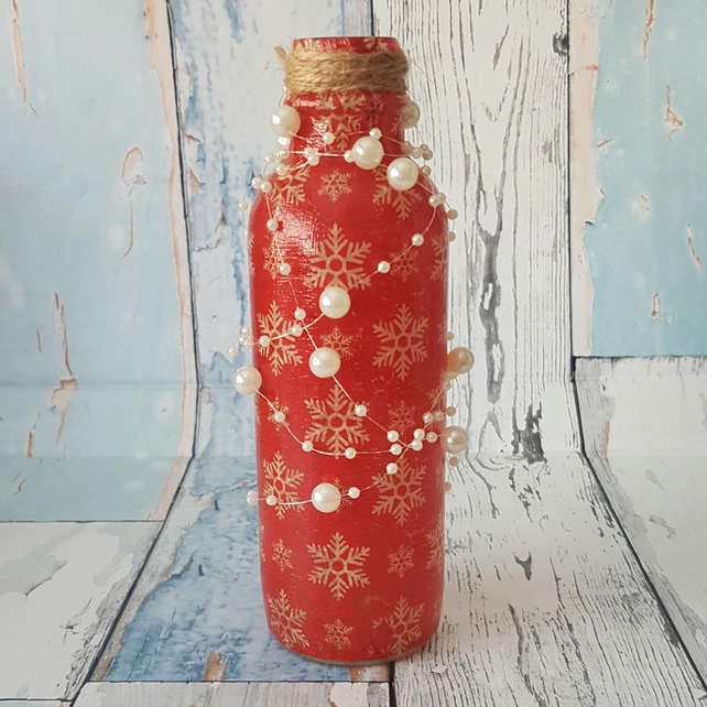 Snowflake Upcycled Bottle, with Pearls, Christmas decoration with fairy lights.