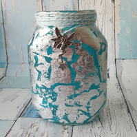 Silver Leaf Nightlight. Recycled Glass, Bright Blue Jar Lamp. With Fairy Lights