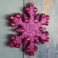 Snowflake decoration in Magenta Pink glitter, with hot pink  rhinestones