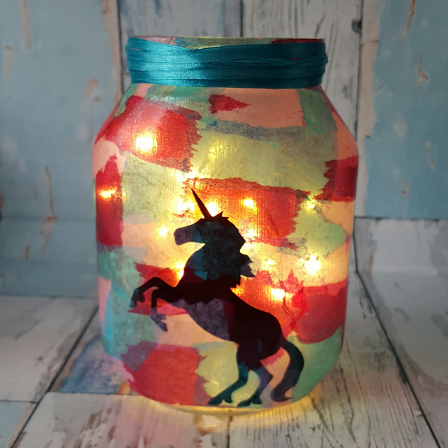 Unicorn Upcycled Light. Recycled Glass Jar Lamp. With Fairy Lights