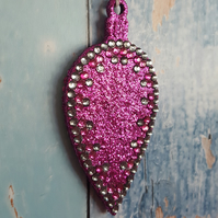Hot Pink Glitter Christmas Tree decoration, with rhinestones