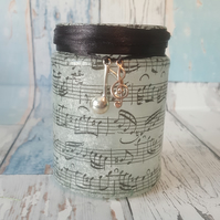 Music Paper Candle Holder. Recycled Glass Jar Light. Vase, Pen holder