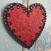Red Glitter Heart Christmas decoration, dark blue rhinestones