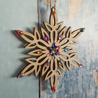 Snowflake Christmas Tree decoration, wooden with sparkly gems