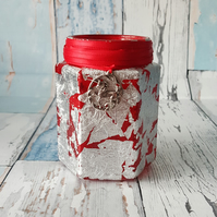 Silver Leaf Jar Lamp, Red, Upcycled Recycled, pen pot, small vase, candle holder