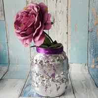 Star Silver Leaf Nightlight. Recycled Glass, Purple Jar Lamp. With Fairy Lights