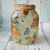 Rustic Nightlight with flowers and butterflies. Recycled Jar Lamp