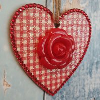 Gingham Heart with Red Rose, Hanging decoration, country cottage chic