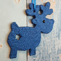 Reindeer Christmas Tree decoration, royal blue holographic glitter