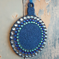 Royal Blue Glitter Christmas Tree decoration, with blue rhinestones