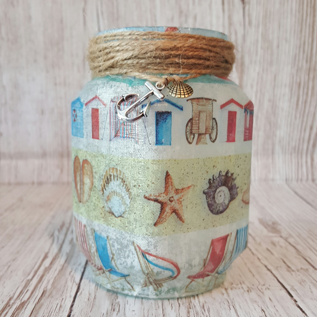 Seaside Candle Holder. Recycled Glass Jar Light. Vase, Pen holder