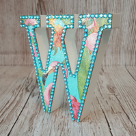 Letter W, with Flamingos, freestanding initial, wooden name