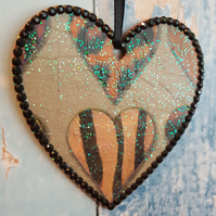 Hanging Heart decoration, country cottage chic, with animal fur pattern
