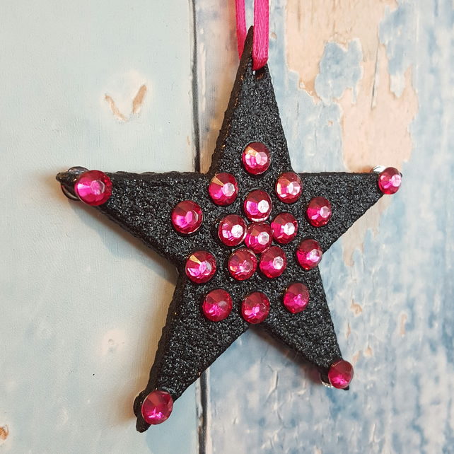 Star Christmas Tree Decoration, black glitter, with pink rhinestones