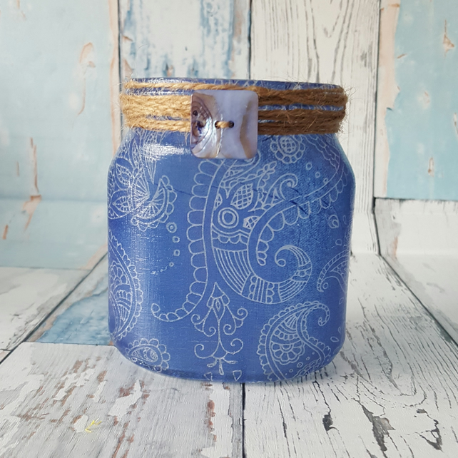 Blue Paisley upcycled jar Candle Holder. Recycled, Light. Vase, Brush holder