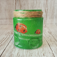 Ladybird Light Jar. Upcycled Glass Jar with Ladybirds.