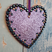 Lilac Glitter Heart, Hanging decoration, Christmas Tree dec, sun catcher, purple