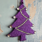 Christmas Tree decoration in Purple glitter, with silver rhinestones