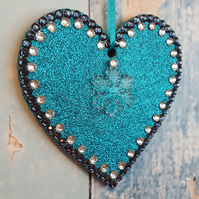 Turquoise Glitter Heart, Hanging decoration, Christmas Tree dec