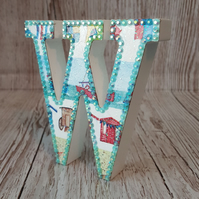 Letter W, Seaside, Beach Huts, bunting, Shells, Boats, freestanding initials