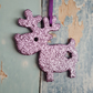 Reindeer Christmas Tree decoration, lilac purple glitter