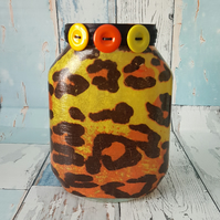 Leopard Print Upcycled Jar, Orange and Yellow Animal Print, with Fairy Lights