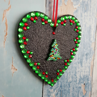 Black Glitter Heart decoration, Green Christmas Tree, Red and green rhinestones