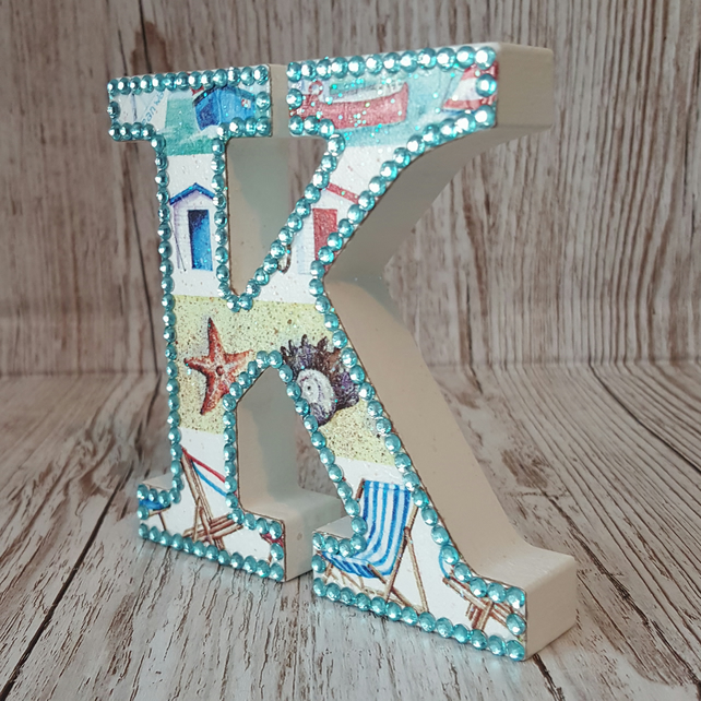 Letter K, Seaside, Beach Huts, deck chairs, Shells, Boats, freestanding initials