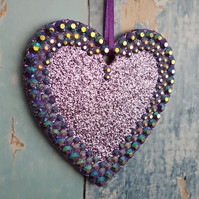 Lilac Glitter Heart, Hanging decoration, Christmas Tree dec, sun catcher
