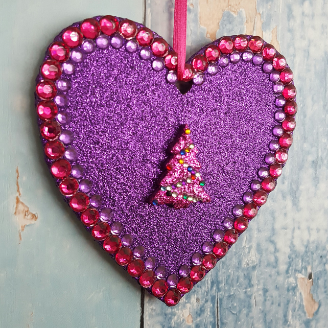 Purple Glitter Heart decoration, Pink Christmas Tree, magenta rhinestones