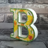 Letter B, with Daffodils, freestanding initial, wooden, with green rhinestones