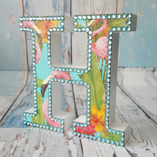 Letter H, with Flamingos, freestanding initial, wooden, with rhinestones