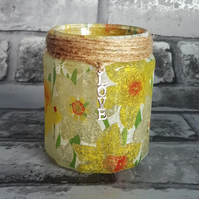Daffodil Jar Light, upcycled Candle Holder. Recycled, Vase, Brush holder