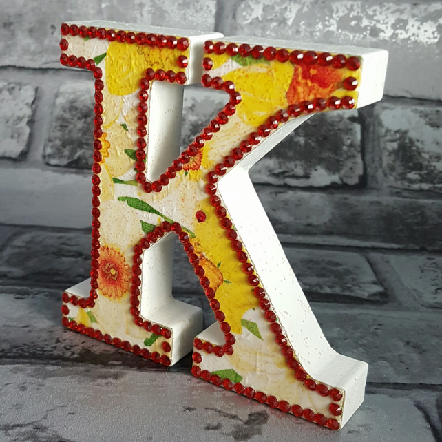 Letter K, with Daffodils, freestanding initial, wooden, with Red rhinestones
