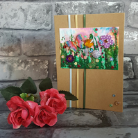 Miniature Meadow Collage, Original Art Greeting Card, Blank Inside
