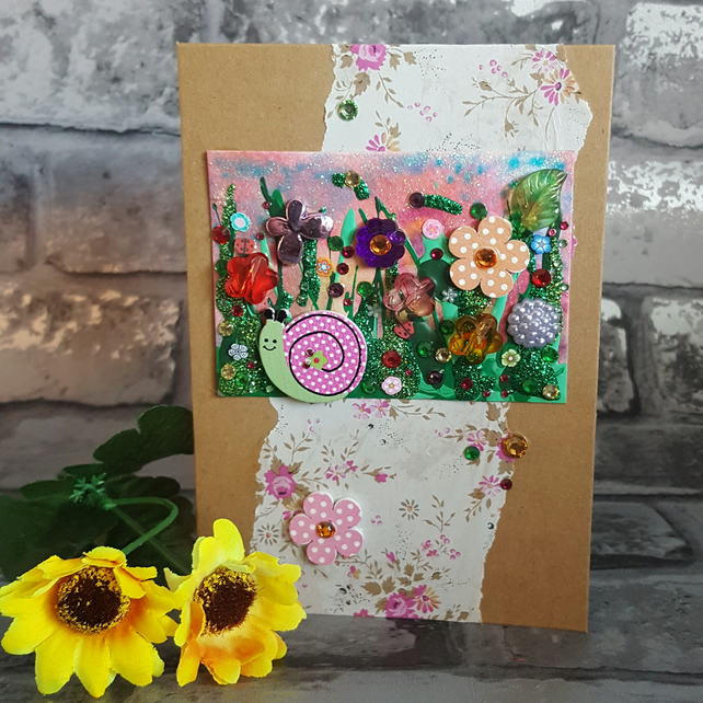 Miniature Meadow Snail Collage, Original Art Greeting Card, Blank Inside