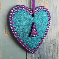 Turquoisd Glitter Heart decoration, Christmas Tree, purple rhinestones